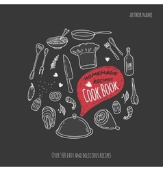 Cook book cover with hand drawn food vector image