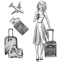 Girl walking with a luggage bag vector