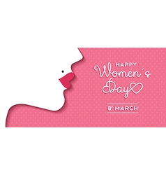 Womens day design with girl face and text label vector