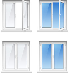 Plastic window frames 4 realistic icons set vector