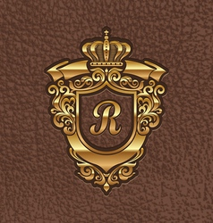 Golden royal coat of arms embossing on a leather vector