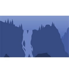 View waterfall of silhouette vector