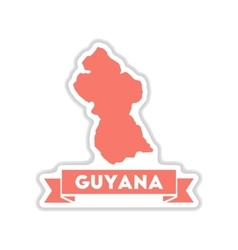 Paper sticker on white background maps of guyana vector