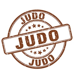 Judo brown grunge round vintage rubber stamp vector