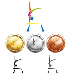 Gymnastics on balance bar and medals vector