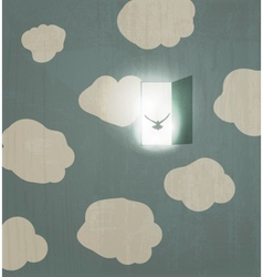 Abstract concept poster Dove flies through the vector image vector image