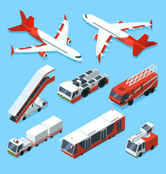 airplanes set and other support machines in vector image vector image