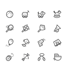 Baby toys black icon set on white backgroun vector