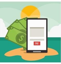 Beach smartphone bills document vector