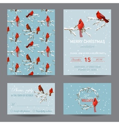 Christmas winter birds greeting card set vector