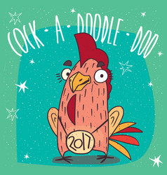 Cock or rooster with logo 2017 smiles vector
