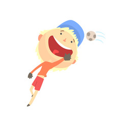 Cool smiling cartoon boy playing football kids vector