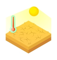 Drought icon in cartoon style vector