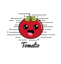 Emblem kawaii shy tomato vegetable icon vector