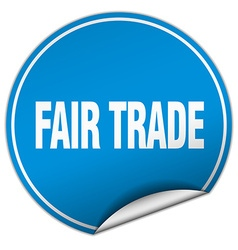 Fair trade round blue sticker isolated on white vector