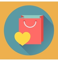 Flat-design shopping bag icon vector image vector image