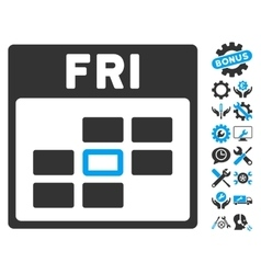 Friday Calendar Grid Icon With Bonus vector image vector image