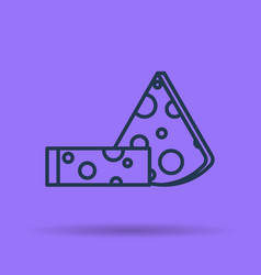 isolated icon of two pieces of cheese vector image vector image