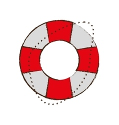 Life buoy safety travel color sketch vector