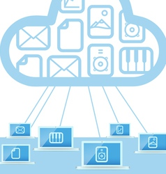 Modern cloud technology computer network vector