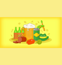 Oktoberfest horizontal banner cartoon style vector