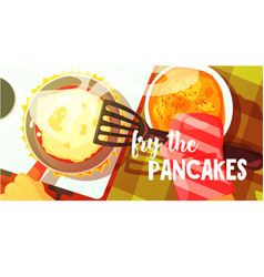 Pancakes frying bright color vector