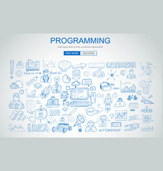 Programming concept with business doodle design vector