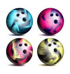 realistic bowling ball set classic round vector image vector image