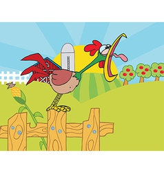 Rooster crowing on a fence vector
