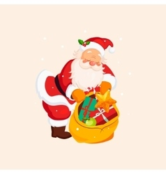 Santa claus holding a sack with toys vector