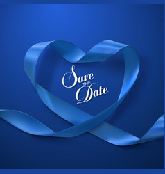 Save the date blue ribbon heart vector