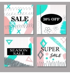 Set of creative hand drawn Sale discount headers vector image vector image
