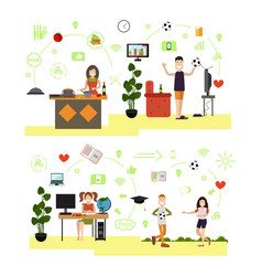Set of family people symbols icons in flat vector