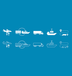 Set of icons transported shipping delivery vector