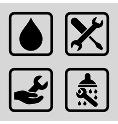 Shower Flat Squared Icon vector image
