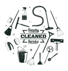 Sketch cleaning service elements round concept vector