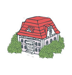 The house stands by itself on the street vector