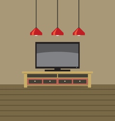 Tv shelf with ceiling lights vector