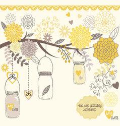 Wedding Flower with Mason Jar vector image