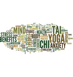 Yoga tai chi and the state of zen text background vector