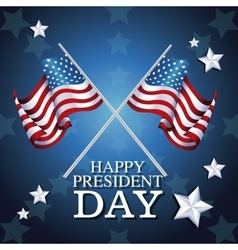 Happy president day crossed flag symbol star vector