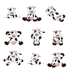 Cute cow set vector