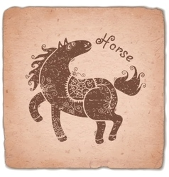 Horse chinese zodiac sign horoscope vintage card vector
