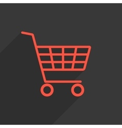 Red shopping trolley with long shadow vector