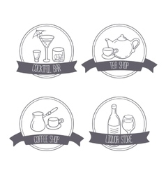 Hand drawn different beverage icon logos doodle vector