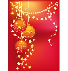 Red christmas background with christmas tree balls vector