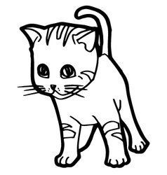 Cat and kitten coloring page for kid vector