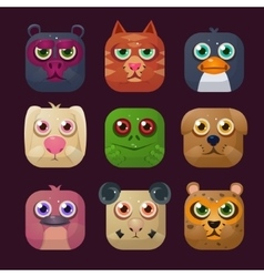 Funny animal icon set vector