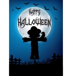 Halloween scarecrow at night vector image