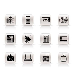 simple communication and business icons vector image